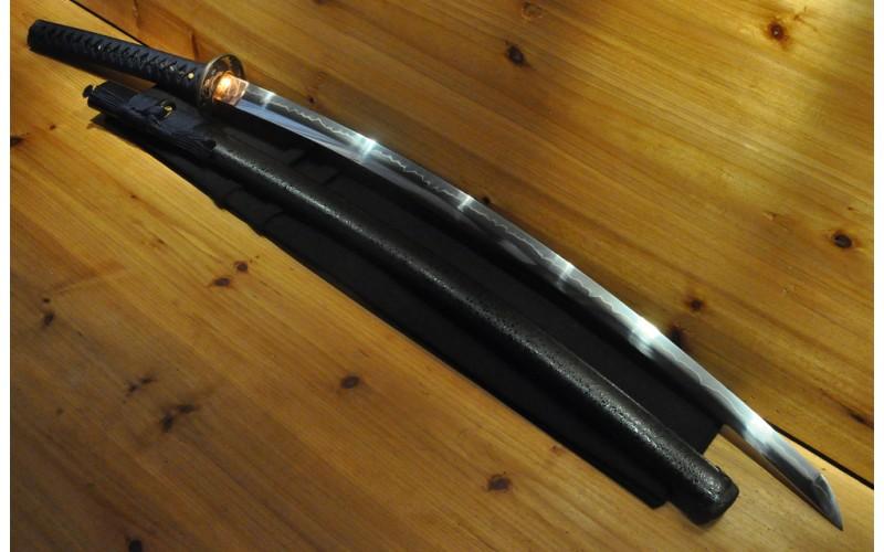 """1.5"""" Sori Shinogi Zukuri Nami Koshirae Hishi-Gami Copper Habaki Japanese Sword"""