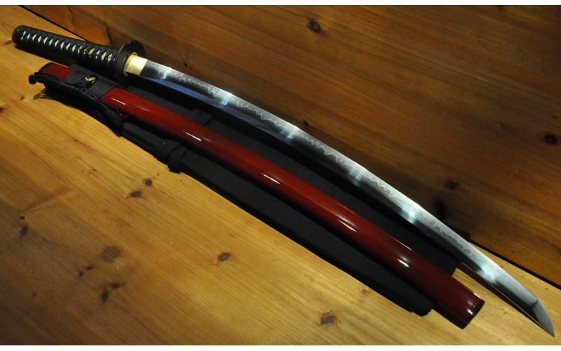 Deep Sori Shinogi Zukuri Mokko Tsuba Higo Fittings Hishi-Gami Japanese Sword